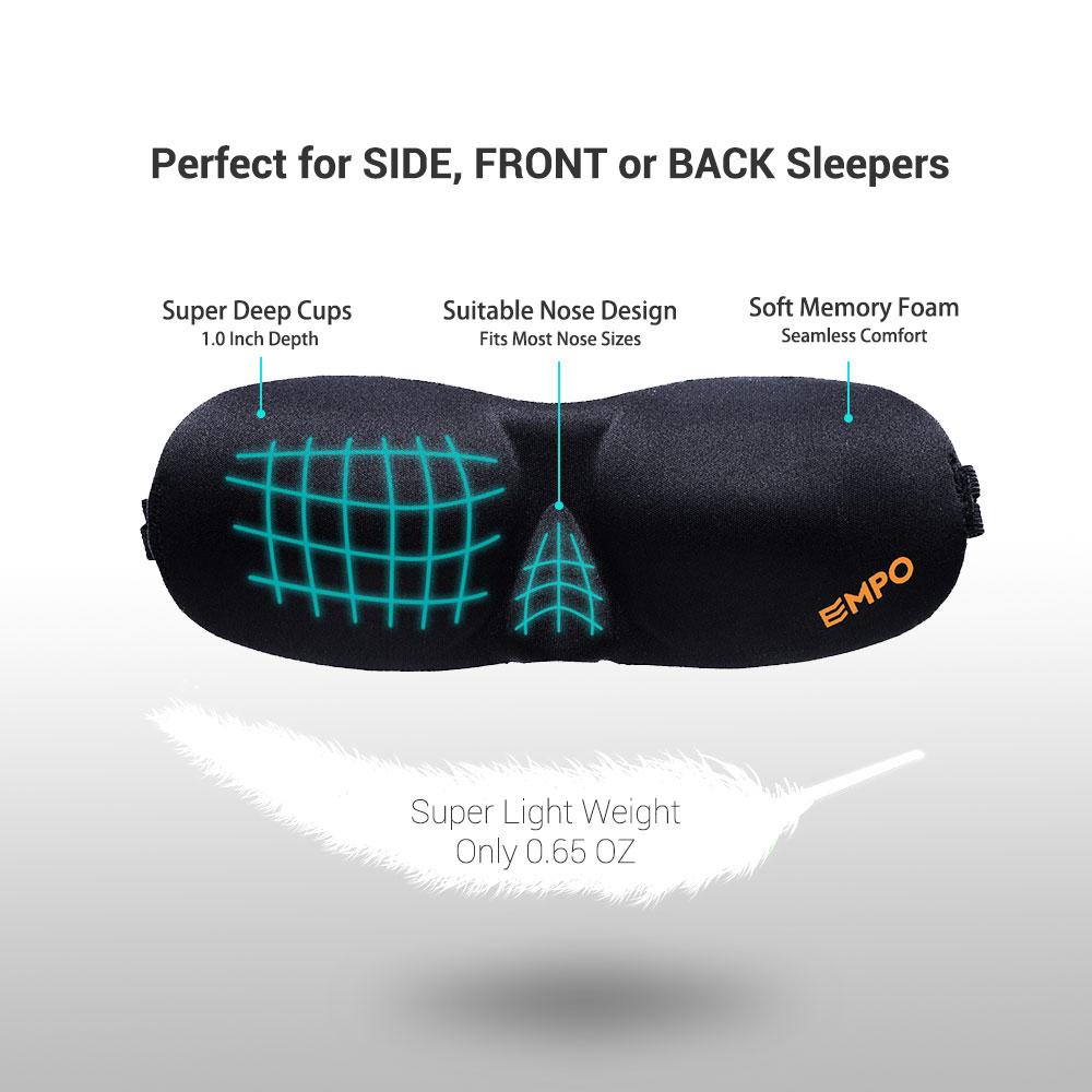 Sleep Mask Soft Memory Foam Contoured Eye Mask with Free Ear